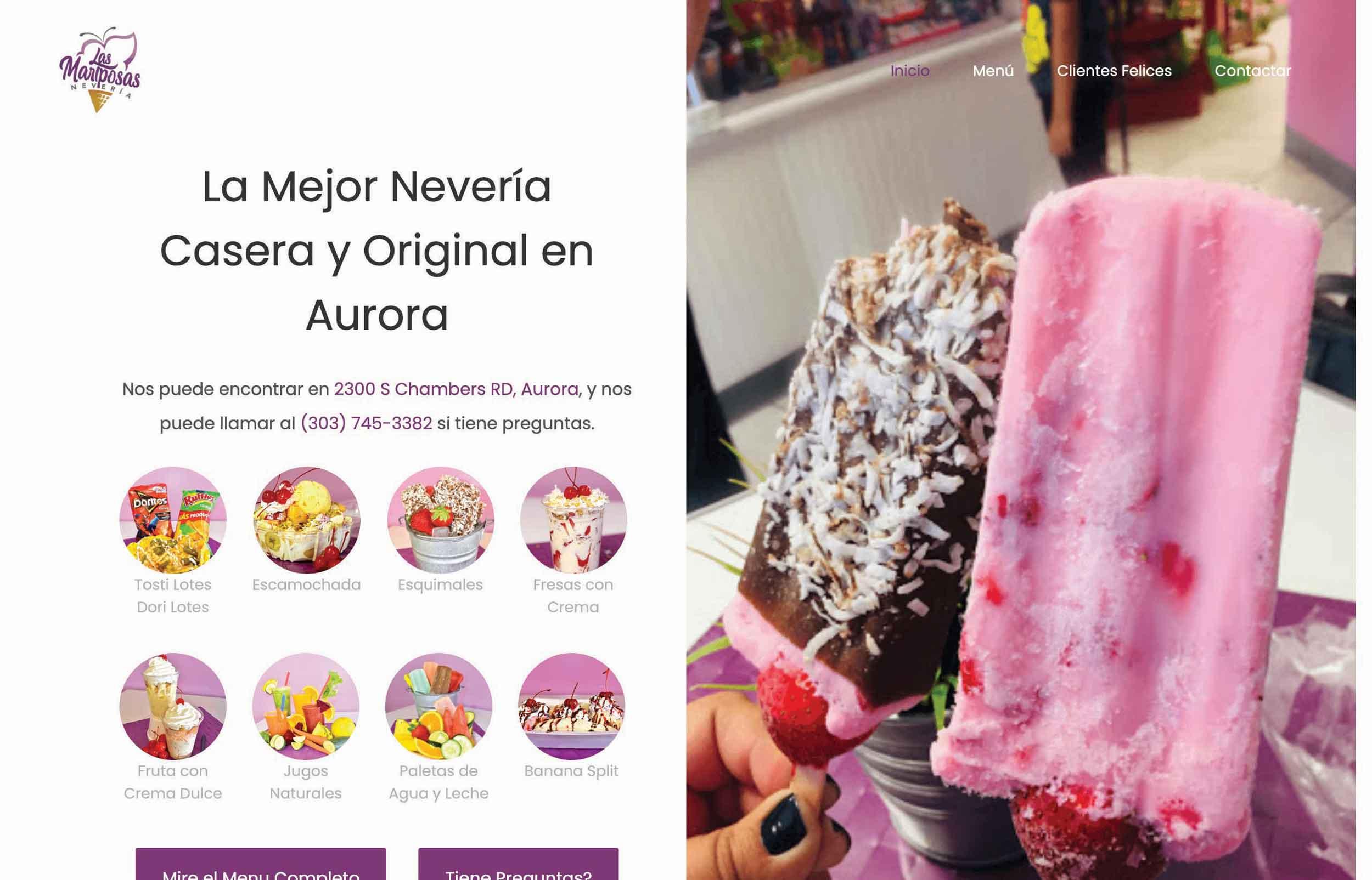 Neveria Mariposas Ice Cream Shop Header